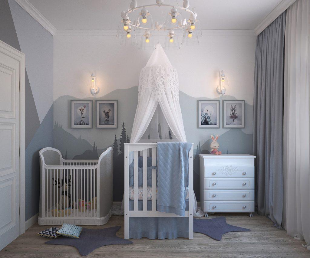 chambre de bébé - effet peinture murs